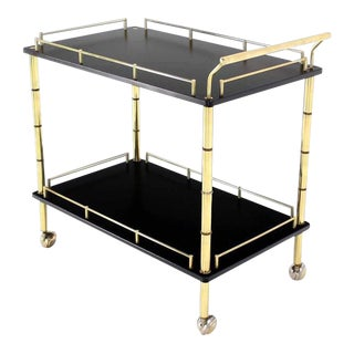 Hollywood Regency Faux Bamboo Brass Gallery 2-Tier Rectangular Rolling Bar Tea Cart For Sale