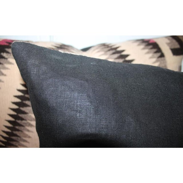 1920s Pair of Monumental Geometric Indian Weaving Bolster Pillows For Sale - Image 5 of 7
