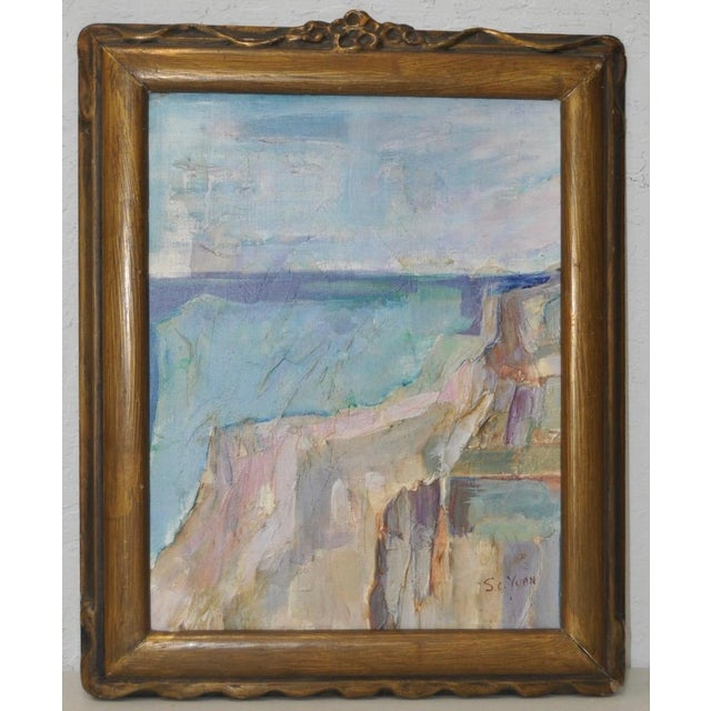 """1940 """"Ocean Cliffs"""" Original Abstract Oil Painting by S.C. Yuan - Image 2 of 4"""