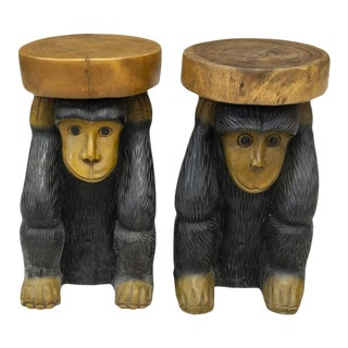 Vintage Folk Art Hand Carved Wooden Figurative Monkey Side Table, Stand or Stool - a Pair For Sale