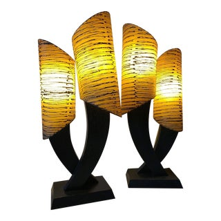1950s Majestic Mid-Century Modern Googie Atomic Alkur Wood Fiberglass Lamps - a Pair For Sale