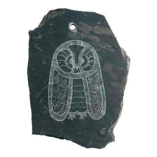 Vintage Etched Owl on Slate Wall Hanging For Sale
