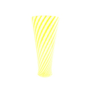 Fratelli Toso Style Yellow and White Striped Vase For Sale