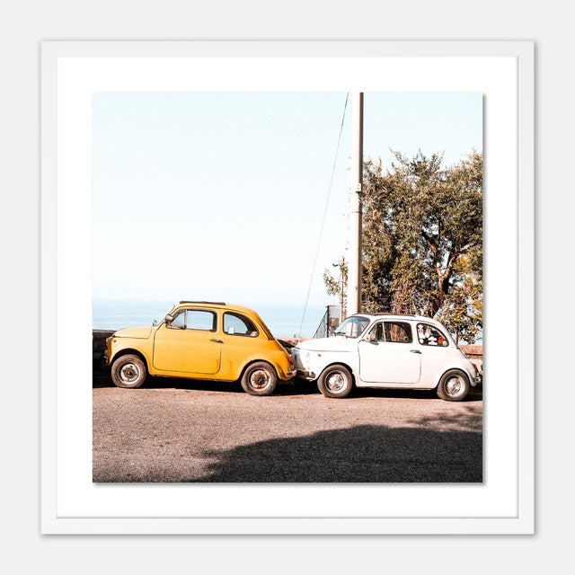 Contemporary Positano Auto by Natalie Obradovich in White Framed Paper, Medium Art Print For Sale - Image 3 of 3