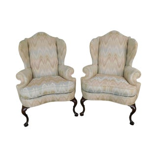 Pennsylvania House Criterion 60 Queen Anne Style Pair of Flame Stitch Wing Chairs For Sale