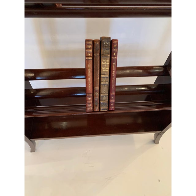 English 19th Century Mahogany & Satinwood Book Trough Shelving Unit For Sale - Image 3 of 13