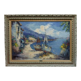 "1950s Vintage ""On the Inlet"" Camprio Signed Painting For Sale"