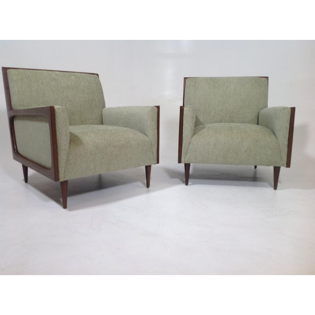 Textile Mid-Century Modern Style Lounge Chairs - a Pair For Sale - Image 7 of 7