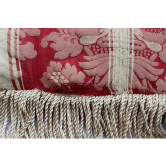 Italian Italian Silk Down Pillow in Dark Red and Cream With Long Silk Rope Fringe For Sale - Image 3 of 4