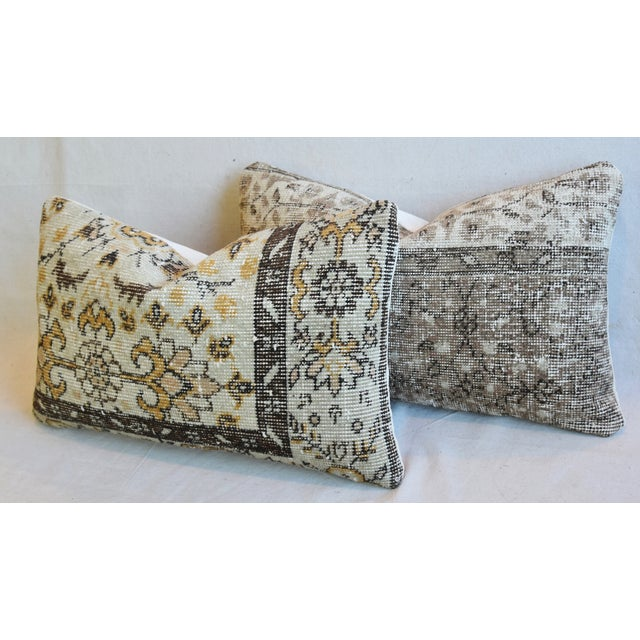 "Gold Antique Soumak Carpet Wool Feather/Down Pillows 26"" X 16"" - Pair For Sale - Image 8 of 13"