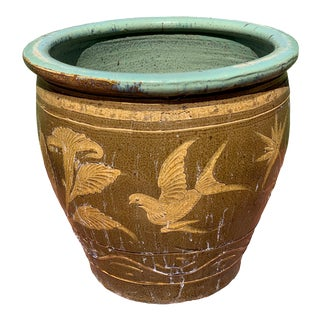19th Century Chinese Bird Egg Pot Earthenware Jardiniere For Sale