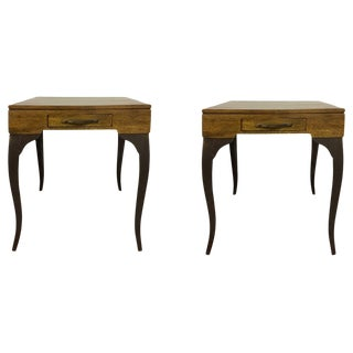 Contemporary Melange Storage Side Tables - a Pair