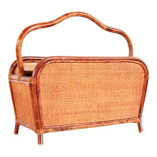 Vintage Bamboo Rattan & Woven Cane Magazine Rack / Book Holder For Sale