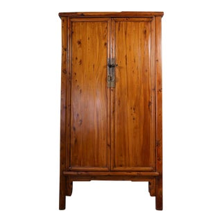 Antique Chinese Cypress Wood Armoire For Sale