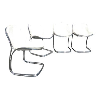 Mid-Century Warren Platner for Knoll Style White Tuft Chrome Dining Chairs - Set of 4