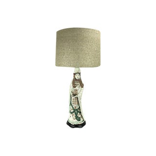 1970s Chinese Porcelain Guan Yin Table Lamp For Sale