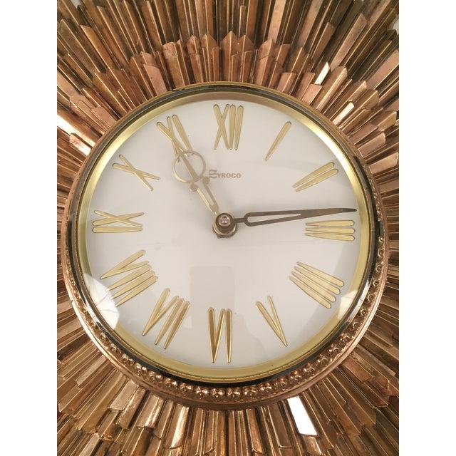 Mid-Century Syroco Sunburst Wall Clock - Image 3 of 11