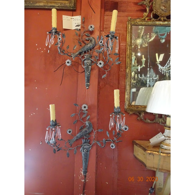 Italian Iron and Crystal Sconces - a Pair For Sale - Image 12 of 13