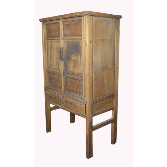 Mid 19th Century 19th Century Chinese Wooden Wardrobe With Paneled Doors, Drawers and Tall Legs For Sale - Image 5 of 8