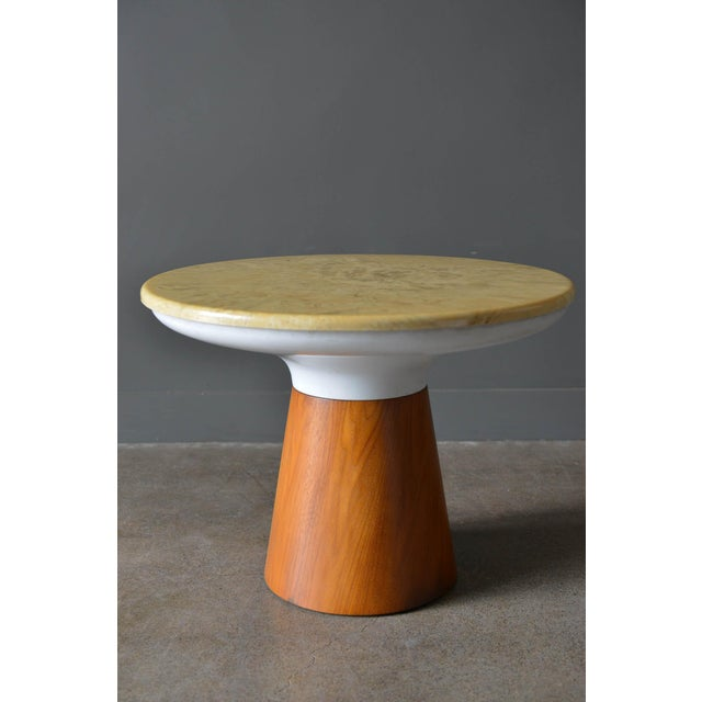 Stone occasional table by Frank Rohloff for Brown Saltman, circa 1965. Walnut base with removable stone top in good...