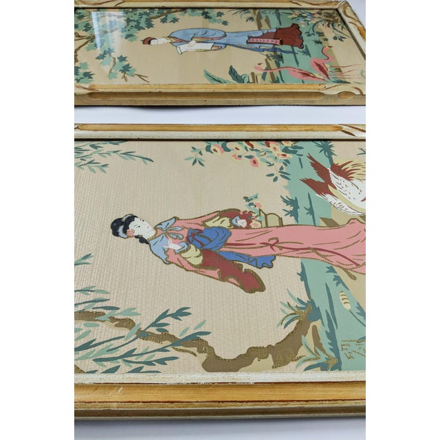 Art Deco Vintage Asian Silk Screen Hand Painted Prints With Gold. Pair of 2 For Sale - Image 3 of 8