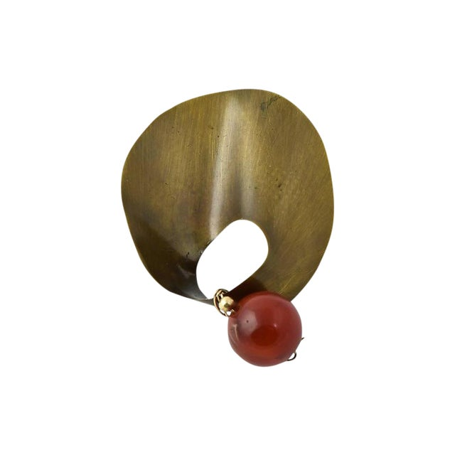 20th Century Mexican Modernist Agate Sterling Brooch For Sale