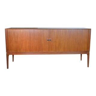 Beautiful Danish Modern Teak Credenza With Tambour Doors For Sale
