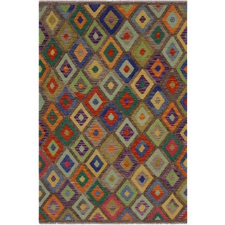 Kilim Almeda Brown Hand-Woven Wool Rug -4'10 X 6'7 For Sale