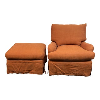 Marco Fine Furniture Arm Chair + Ottoman For Sale