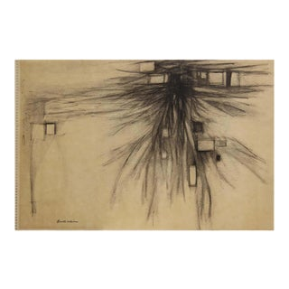 """1959 """"Gray Quarry II"""" Abstract Gestural Landscape Black Ink Mixed-Media Drawing by Lowell Collins For Sale"""