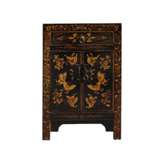 Black Lacquer Golden Butterflies End Table Nightstand For Sale