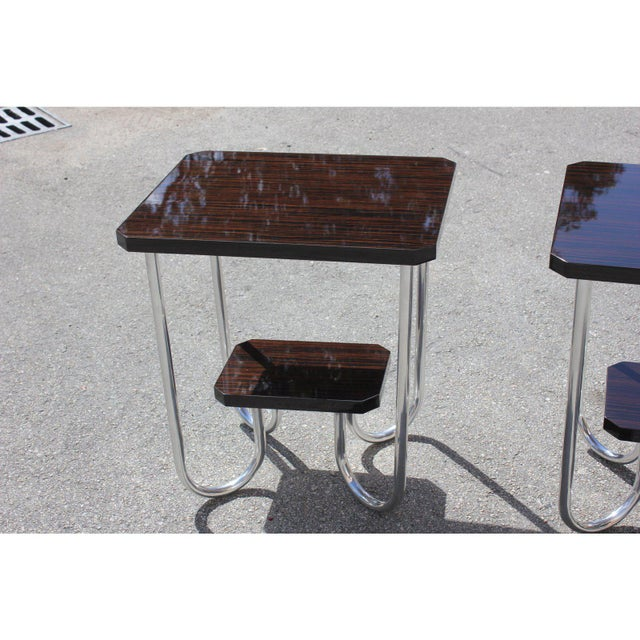 1940s 1940s Modern Exotic Macassar Ebony Side Tables - a Pair For Sale - Image 5 of 11