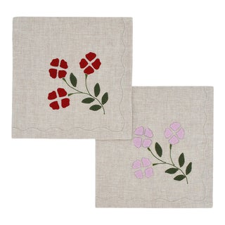 Matisse Dinner Napkins, Oatmeal With Red and Pink, Set of 2 For Sale