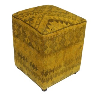 Arshs Daniele Yellow/Drk. Gray Kilim Upholstered Handmade Ottoman For Sale