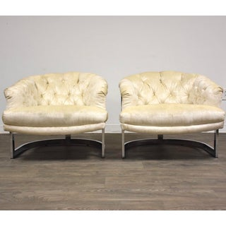 Milo Baughman Style Chrome Lounge Chairs - a Pair Preview