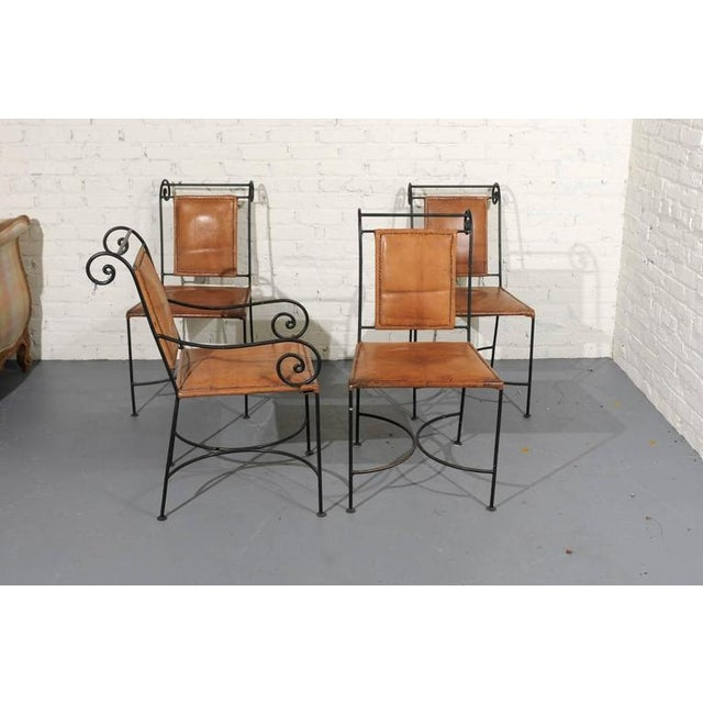 Iron and Leather Dining Chairs - Set of 4 - Image 2 of 5