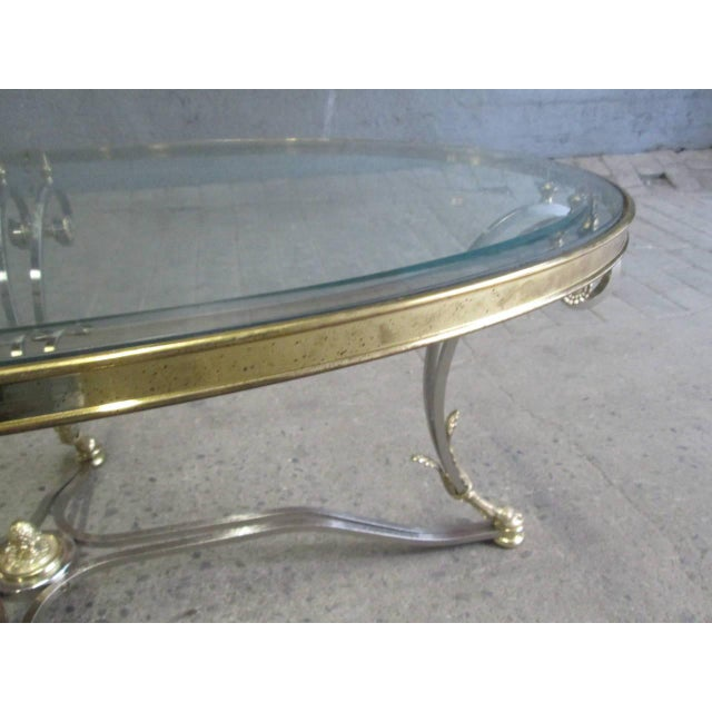 Polished Steel and Brass Coffee Table Manner of Maison Jansen - Image 8 of 9