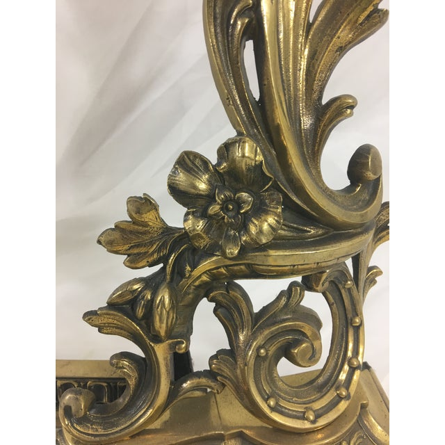 19th Century Louis XVI Style Bronze Andirons - Set of 3 For Sale - Image 6 of 8