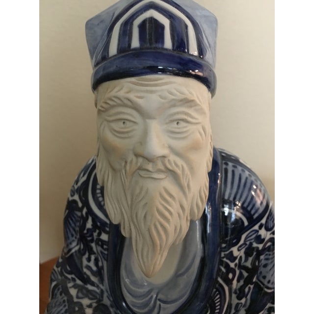 Ceramic Blue & White Chinese Emperor For Sale In Dallas - Image 6 of 7