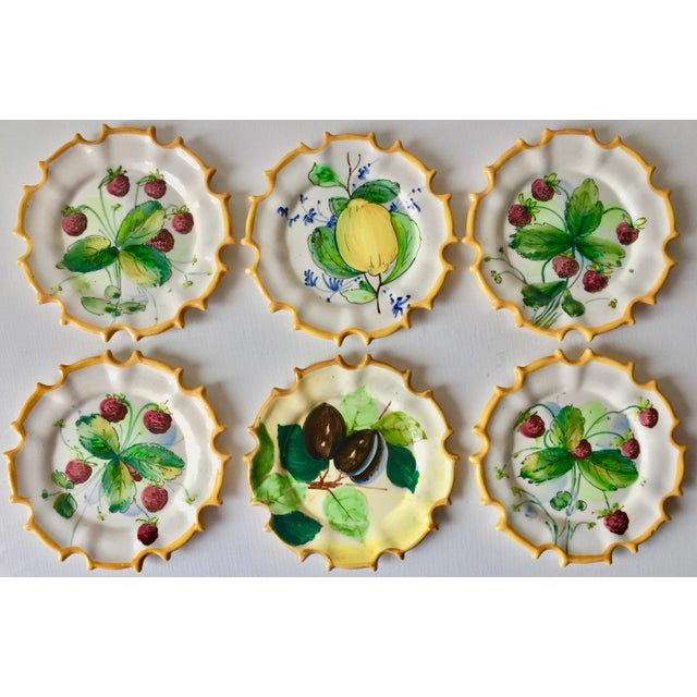 6 Italian Faience Hand-Painted Coasters For Sale - Image 9 of 10