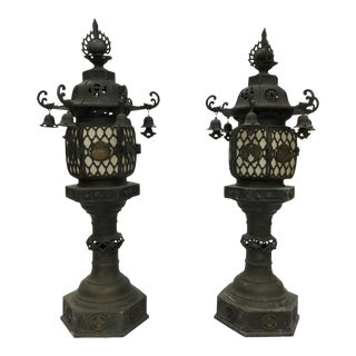 Japanese Temples Converted Lamps - A Pair