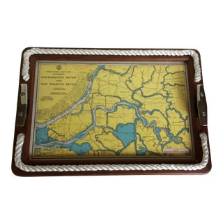 Nautical Sacramento River Sounding Chart Map Serving Tray For Sale