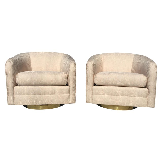 Blush Pink Mid-Century Swivel Chairs - A Pair - Image 1 of 6