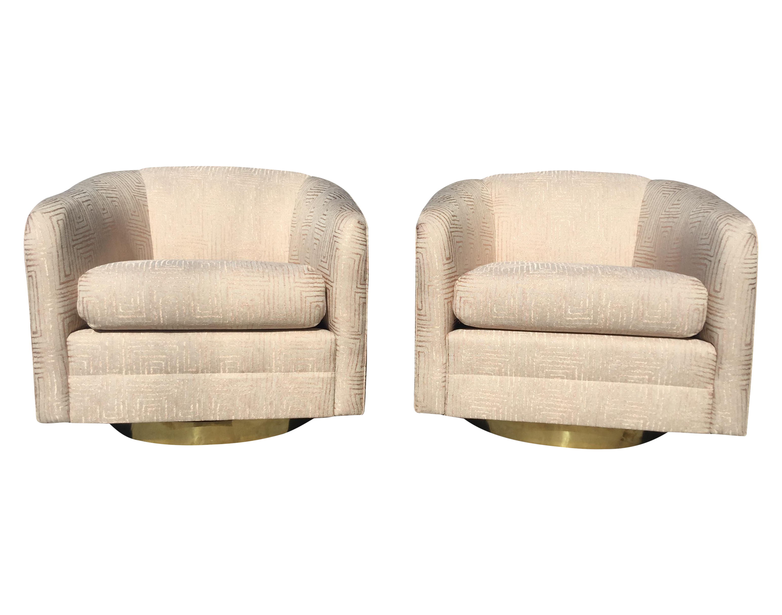 Merveilleux Blush Pink Mid Century Swivel Chairs   A Pair
