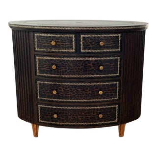 Maitland Smith Alligator Embossed Leather Oval Chest of Drawers For Sale