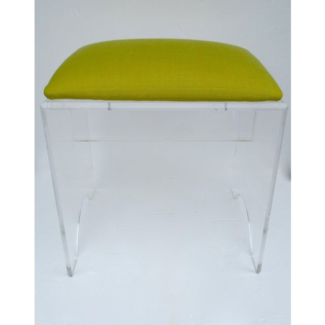 1970s Vintage Mid-Century Lucite Bench With Sunbrella Indoor/Outdoor Textile For Sale - Image 5 of 13