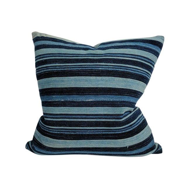 African Indigo Farmhouse Stripe Pillow For Sale