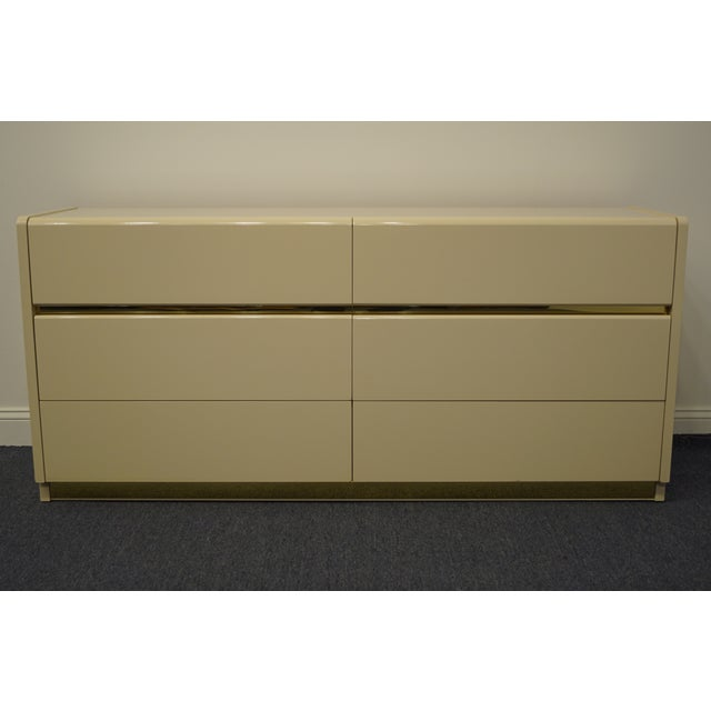 "LANE FURNITURE Alta Vista, VA Contemporary Cream / Off White Lacquered 66"" Double Dresser 843-01 30"" High 66"" Wide 18""..."