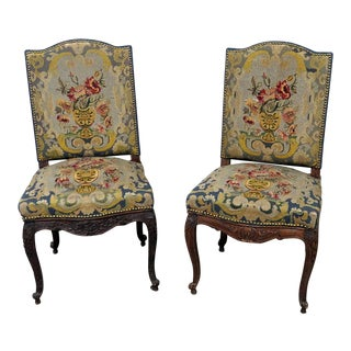 Louis XV Style Needlepoint Chairs - a Pair For Sale