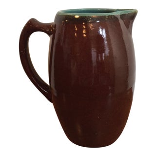 1950s Brown Glaze and Turquoise Interior Stoneware Pitcher For Sale
